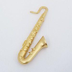 Kenneth Jay Lane KJL Saxophone Brooch Gold Tone